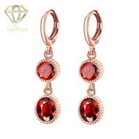 Wholesale Stone Crystal Jewellery - Jewellery Brands Hot Sale Rose Gold Plated Double Rounds Pave Ruby Zircon Stone Austrian Crystals Earrings Fashion Women Jewelry