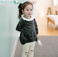 Wholesale Cute Clothes For Girls 3t - Baby Girls Outfit Korean Fall kids clothing Crown Printed clothes set for baby girls Ruffle Collan Long Sleeve Tops+Tights 7154