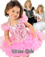 cheap cupcake pageant dresses 2018 - 2016 New Cute Pink Beautiful Ritzee Girls Pageant Dresses Halter A-line Organza Beads Toddler Cupcake Girls Formal Cheap Pageant Dresses