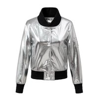 Wholesale Leather Jackets Trendy Women - Wholesale- NYMPH European and American Style Stylish PU Faux Leather Spliced Silver Bomber Baseball Pilot Jacket Trendy Coat Outerwear Top