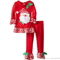 Wholesale Cheap Girls Clothing Sets - 2016 Christmas Santa Claus clothing wholesale cheap girls Children clothing sets bow t shirt+ bell-bottoms pant 2pcs fast shipping