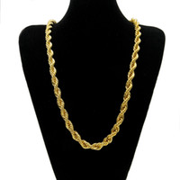 Wholesale Heavy Gold Chain Necklace Mens - 10mm Thick 76cm Long Rope Twisted Chain 24K Gold Plated Hip hop Twisted Heavy Necklace For mens