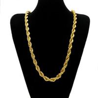 cadena de 24k para hombre al por mayor-Cadena trenzada de cuerda larga de 76 mm de grosor de 10 mm Collar pesado trenzado de hip hop chapado en oro de 24 K
