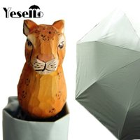 Wholesale Tiger Wood Carvings - Yesello Hand-Carved Wood Cute Tiger Windproof Rain and Parasol Folding Women kids Animal Umbrella