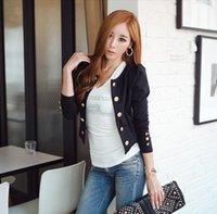 Wholesale Casual Cotton Blazer Womens - New Womens Fashion Long Sleeve O-Neck Thin coat Casual Blazer Short slim black blue button Outerwear Coat