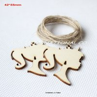 Wholesale Wooden Earring Blanks - (80pcs lot)42mm x 55mm blank unfinished wooden girl tags crafts earrings card making key chain gift with string hanging-CT1063