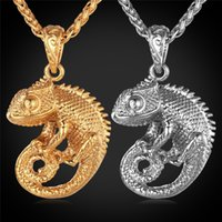 Wholesale Gold Dragon Pendants For Men - U7 Chameleon Dragon Pendant Necklace for Women Men Jewelry 18K Gold Plated Stainless Steel Statement Punk Style Accessories