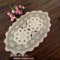 Wholesale Round Felt Placemat - Wholesale- ZAKKA fashion crochet table mat cutout armrest knitted pad 100% cotton oval placemat for home decor lace felt as household item