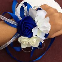 rote champagnerfarben großhandel-Handgemachte tiffany blaue Hochzeitshandgelenkblume der Qualitäts 10pcs / lot purpurrote Brautbrautjunfernhandgelenk corsages Brauthandgelenkblumensträuße