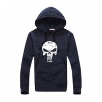 Wholesale Skull Sweater For Men - Men's Sports Punisher Skull Printed Sweatershirt Sweater Long Sleeve Hooded 5 Colors Jacket Pullover For Outdoor Sport Clothing