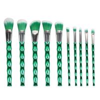 Wholesale New Bamboo Set - Ismine 10 Pcs New Cheap Fashionable Make Up Brushes Green Bamboo Shaped Makeup Brushes Cosmetic Brushes Tools Set Kit