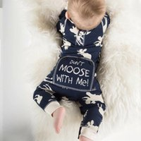 """Wholesale Cute Animal Print Jumpsuits - XMas Boys romper Toddler INS """"donot moose with me"""" letter Deer print Rompers long sleeve Cute Cotton Jumpsuit"""