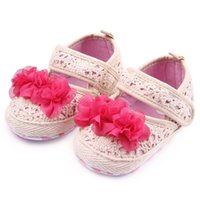 Wholesale lace crochet hook - New Infant Walking Shoes for Girls Crochet Design Big Red Flower Beige Color Soft Anti-slip Sole Dress Shoes 0-12 Months