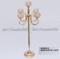 Wholesale Wholesale Crystal Tall Candle Holders - 1.3Meter Tall Wedding Crystal Candelabra Candle Holder wedding Centerpiece Gold candelabrum Banquet road lead MYY