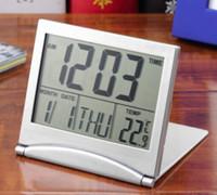 Wholesale Mini Clock Temperature - 1pcs Calendar Alarm Clock Display date time temperature flexible mini Desk Digital LCD Thermometer cover Hot Search