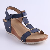 Wholesale Nude Wedges Sandals - HEYIYI Women's Platform Shoes Wedge Sandals Large Size Lady Soft PU Leather Comfort Lightweight Shoes Woman High Quality Wholesale Shoes