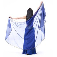 Wholesale Belly Dance Shawl Veil - New Belly Dance Chiffon Veil Semicircle Arc Gold Edge Scarf Shawl Veil 12 colors