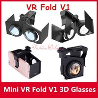 VR Fold V1 Mini Folding 3D VR Óculos Ultralight Virtual Reality Glasses Movie Universal para iPhone Samsung Android 4