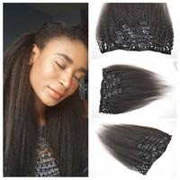 cabelos tortuosos de 26 polegadas venda por atacado-3a, 3b, 3c kinky straight clip ins extensões de cabelo 12-26 polegadas 7 pçs / lote 120g Malaio tecer Cabelo Humano G-EASY