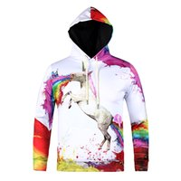 spiritual prints - 2016 new big size fat people hoodie colorfull cry unicorn D print spiritual pollution five size sweatshirts