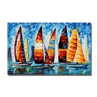 Wholesale Oil Paint Sailboat - Beautiful Sailboat Landscape Oil Painting Hand Painted Modern Picture Set On Canvas High Quality Oil Painting No Framed