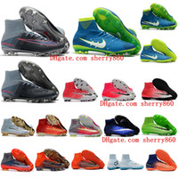 Wholesale Spike High Boots - High Top Mens Kids soccer shoes Mercurial Superfly V SX Neymar FG TF football boots boys soocer cleats CR7 Women Original neymar Boots