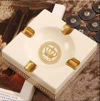 Wholesale Luxury Ashtrays - European style Christmas Gift for father top high grade luxury fashion fine bone china ceramic square & round ashtray for home and office