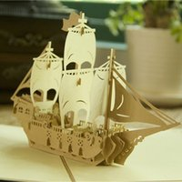 Wholesale Christmas Sail - Hot sale Sailing Boat Handmade Kirigami Origami 3D Pop UP Greeting Cards For Wedding Birthday Party Gift
