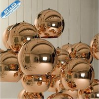 Wholesale Copper Pendant Ball Lamp - new brand LED Pendant Lamp Copper Sliver Shade Mirror Chandelier Light E27 Bulb Modern Christmas Chandeliers Glass Ball droplight Lighting