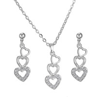 Wholesale Simple Wedding Necklace Earrings - Love Heart-shaped Rhinestone Crystal Earring & Necklace Simple And Stylish Korean Style Fashion Party Jewelry Sets The Clothing Accessories