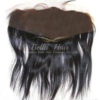 Wholesale Peruvian Hair Silk Closure Piece - 13x4 Peruvian Lace Frontal Closure Hair Pieces Unprocessed Silk Straight Lace Closure Human Hair 8~20inch Natural Color Hair Extensions