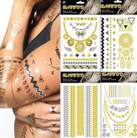 Wholesale Necklace Wrist - Punk Tattoos Temporary Metallic Tattoo Jewelry Fancy Body Gold Tattoo Silver Bling Feather Flash Necklace Waterproof Sticker Tats 14*25cm