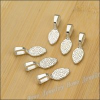 Wholesale Wholesale Glue Jewelry Bails - Free shipping Pendant Clips & Pendant Clasps 28 PCS Bright silver Tone Glue on Bail Leaf Tags Jewelry Findings DIY JewelyJC-614