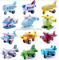 Wholesale Small Wooden Planes - Mini Funny multi-color Wooden Plane Model Toys With Small Wheels Helicopter Bus Best Gifts For Kids 12 Styles lot 7*4*4CM