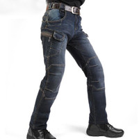 Wholesale Motorcycle Army Combat Men S - New IX7 SWAT Cargo Jeans Men Casual Motorcycle Denim Biker Jeans Stretch Multi Pockets Tactical Combat Army Jean