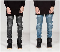 Wholesale Tapered Jeans Men - 2017 new men's pants Jeans Biker Jeans ribbed trim elasticity Slim jeans tapered bottom of trouser leg denims Street hip hop free shipping