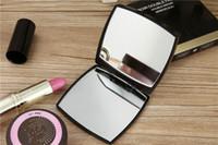 ingrosso scatole regalo pieghevoli-Vendita CALDA con logo Specchio doppio laterale pieghevole con confezione regalo specchio per trucco nero Stile classico portatile