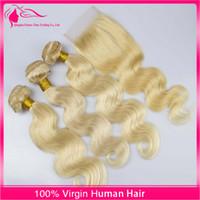sarışın saç telleri toptan satış-Sıcak Güzellik Brezilyalı Işık Sarışın Saç Demetleri Dantel Kapatma Vücut Dalga Ile 9A Sınıf # 613 Saf Renk Bakire Remy İnsan Saç Uzantıları