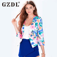 Wholesale Office Works Computers - Wholesale- GZDL Fashion Ladies Women Floral Printed 3 4 Sleeve Deep V Neck Open Front Office Work Wear Top Jumper Cardigan Sweater CL2949