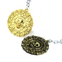 Wholesale Woman Pirate Caribbean - Hot Pirates Of the Caribbean Aztec SKull Keychain Alloy Gold Bronze 2 Colors Coin Keyring llaveros porte clef Wholesale