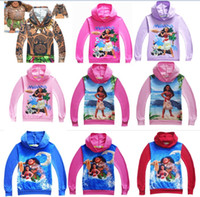 Wholesale Thin Cartoon Characters - 15 Designs Children Moana Clothing Pullover Hoodie Autumn Thin Sweatshirts for Boy girl Cartoon Xmas Outwear Blue Pink Black 2017 DHL
