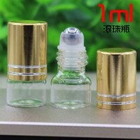 Wholesale Wholesale Roll Bottles - Wholesale- 1ML transparent glass bottle with steel ball roll on for eye cream,perfume,essential oil,lip gloss bottle