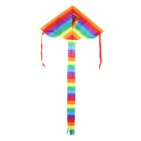 Triangolo Rainbow Kite Outdoor Fun Sport Papalote Toy Kite Fly a Kite cometa voladora nylon senza righe Giochi ricreativi all'aria aperta