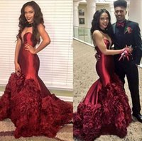 Wholesale Deep V Sweetheart Neckline Dress - Black Girl Prom Dresses Sexy 2k16 Mermaid Formal Dresses Illusion Plunging Neckline Backless Evening Gowns Sweep Train Tiered Evening Wear
