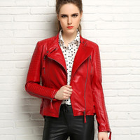 Wholesale Short Jackets For Women - 2016 New womens Genuine leather jacket Black Red Leather Jackets for women short sheepskin real leather slim Brand style Free