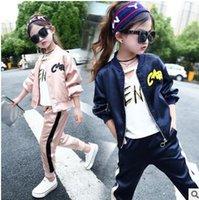 Wholesale Bat Girl Outfit - Girls outfits Autumn kids bat sleeve Letters printed zipper Front jackets+pure color pants 2pcs sets Leisure Children fashion clothes C1435