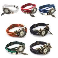 Wholesale Low Price Chronograph Watches - Retro Quartz Weave Wrap Around Leather Bracelet Bangle Womens Tree Leaf Women Girls LADIES Wrist Watch FREE SHIP 1000PCS LOWEST PRICE SALES