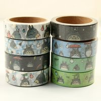 Wholesale Wholesale 15 Supplies - Wholesale-Pre-sale 15 mm DIY cartoon Totoro japanese Paper washi tapes scrapbooking stickers decorative tape adesivi School Supplies 32pcs