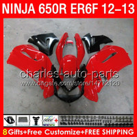 Wholesale f 13 - red black 8gifts Body For KAWASAKI NINJA 650R ER-6F 12-14 14NO7 ER6F 12 13 14 650 R ninja650 6 F ER 6F 2012 2013 2014 Fairing Top glossy red