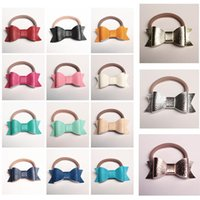 Wholesale Leather Bow Top Wholesale - New PU Leather Hair Bows HairTies Hairbands 30pcs lot Elastic Shinning Synthetic Leather Headbands Top Quality 15 Colors Kids Rose Gold